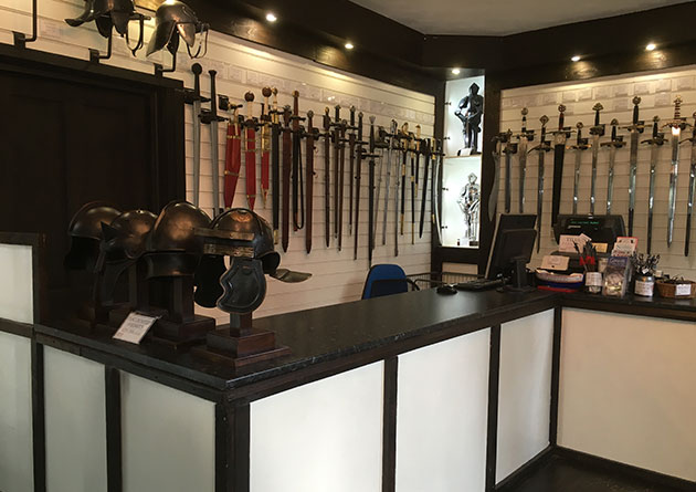 Sword display at the Knight Shop Conwy